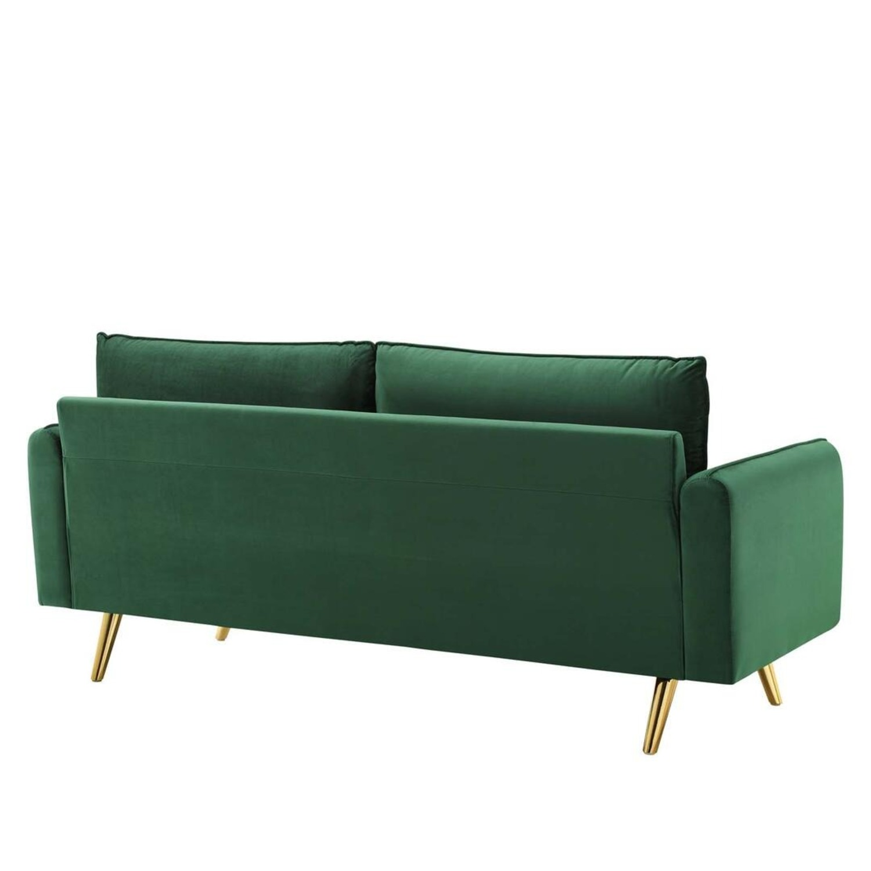 Modern Style Sofa In Emerald Velvet Upholstery - image-2