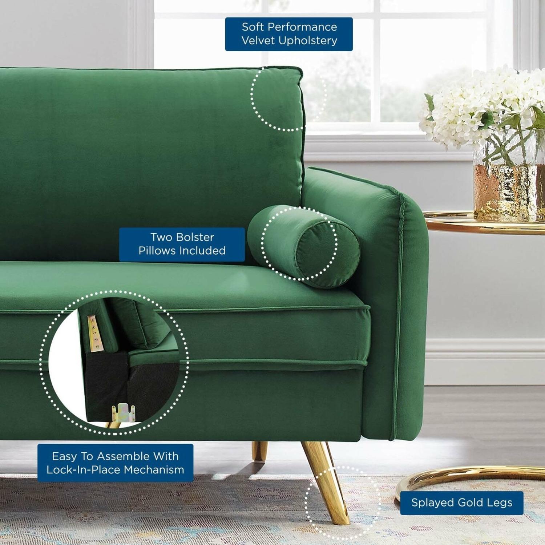 Modern Style Sofa In Emerald Velvet Upholstery - image-6