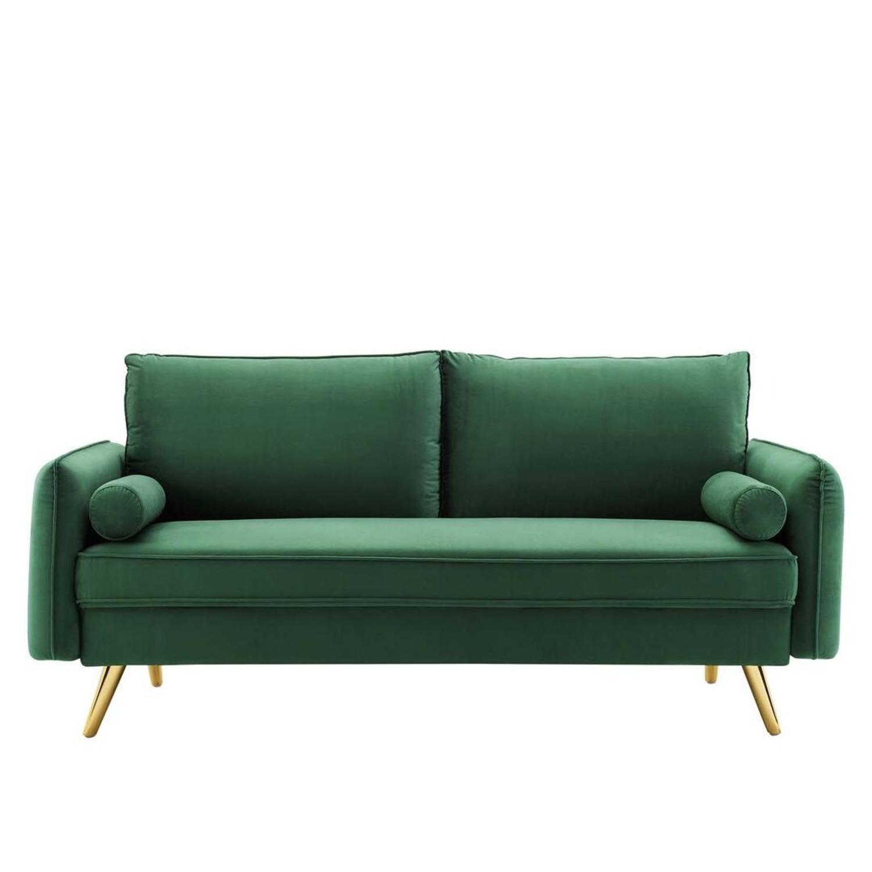 Modern Style Sofa In Emerald Velvet Upholstery - image-1