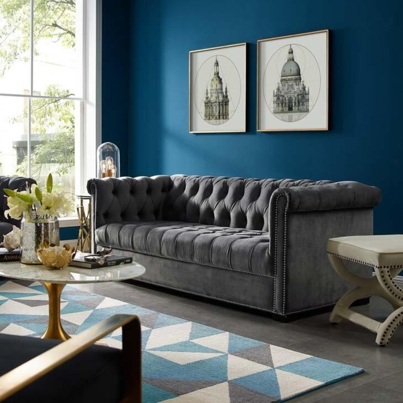 Sofa In Gray Velvet Upholstery W/ Tufted Back - image-4