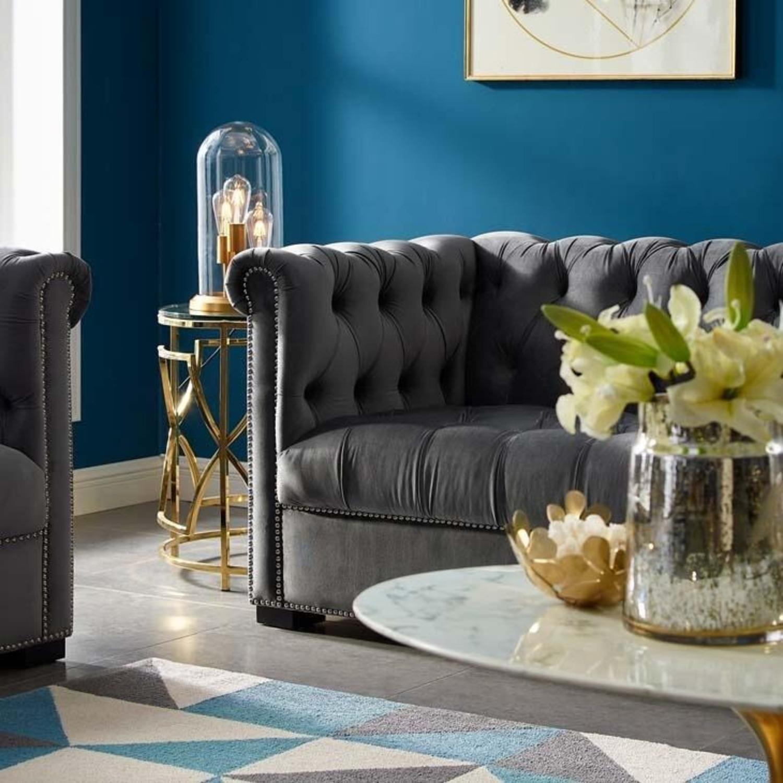 Sofa In Gray Velvet Upholstery W/ Tufted Back - image-3