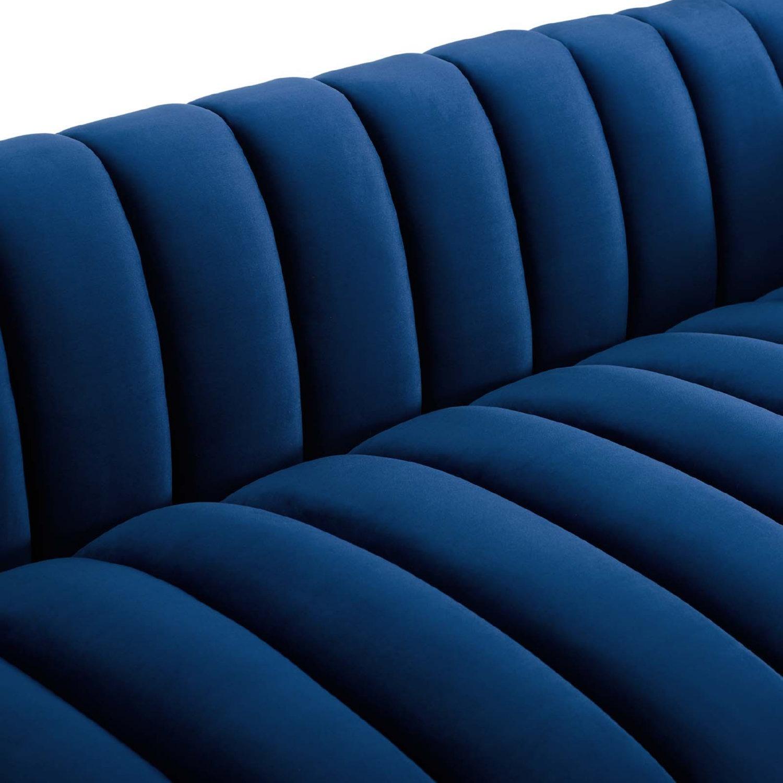 Sofa In Navy Velvet W/ Vertical Channel Tufting - image-4