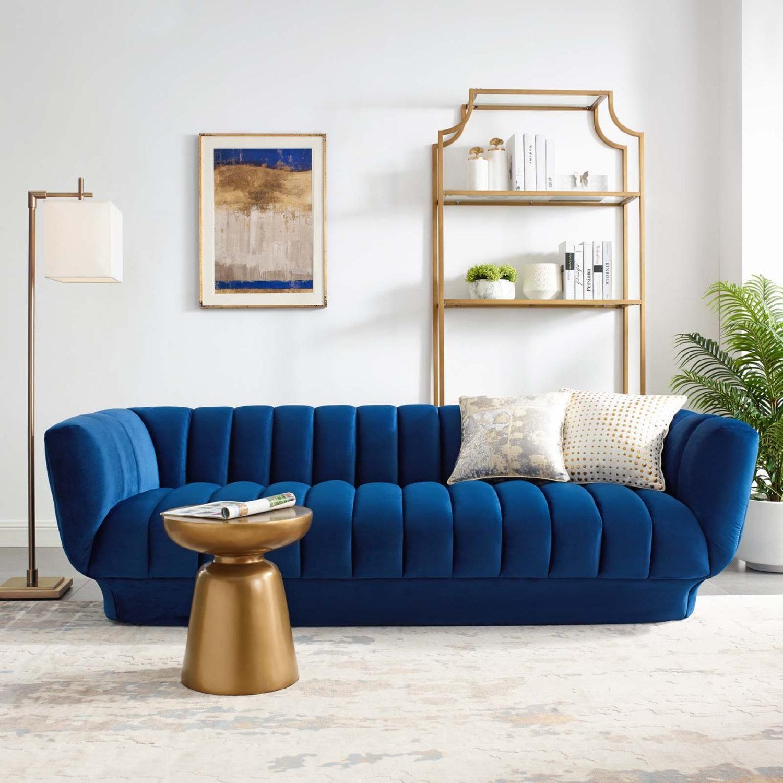 Sofa In Navy Velvet W/ Vertical Channel Tufting - image-5