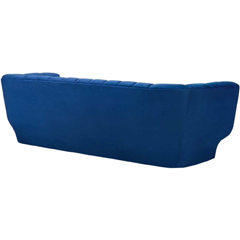 Sofa In Navy Velvet W/ Vertical Channel Tufting - image-2