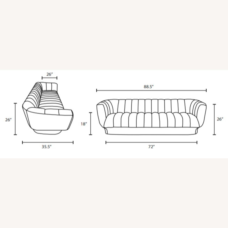 Sofa In Navy Velvet W/ Vertical Channel Tufting - image-6