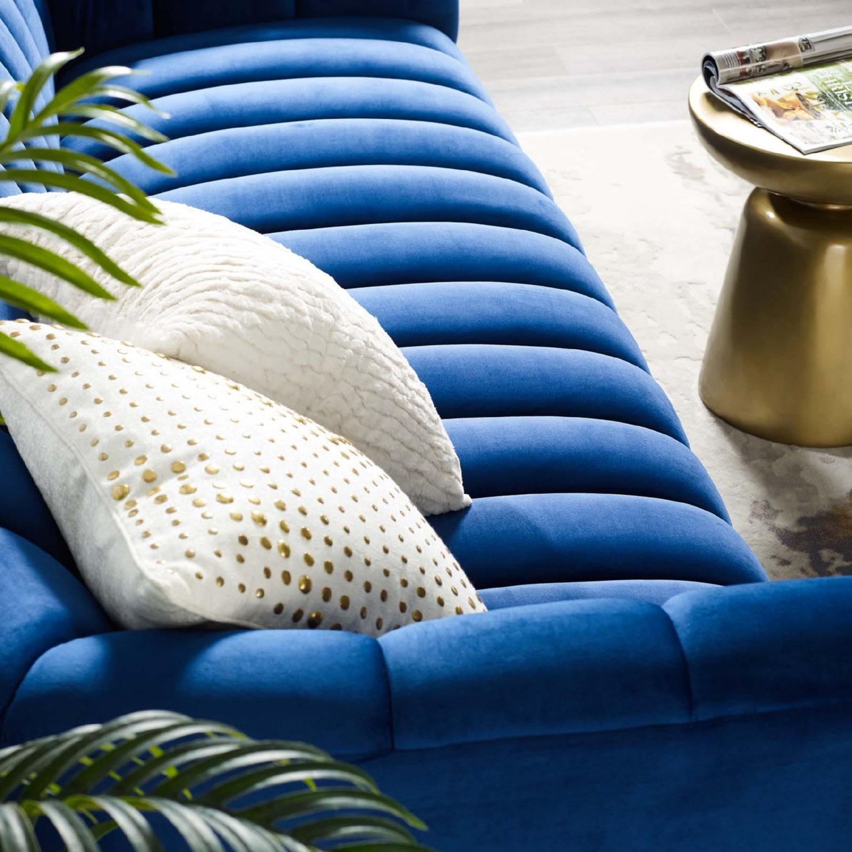 Sofa In Navy Velvet W/ Vertical Channel Tufting - image-3