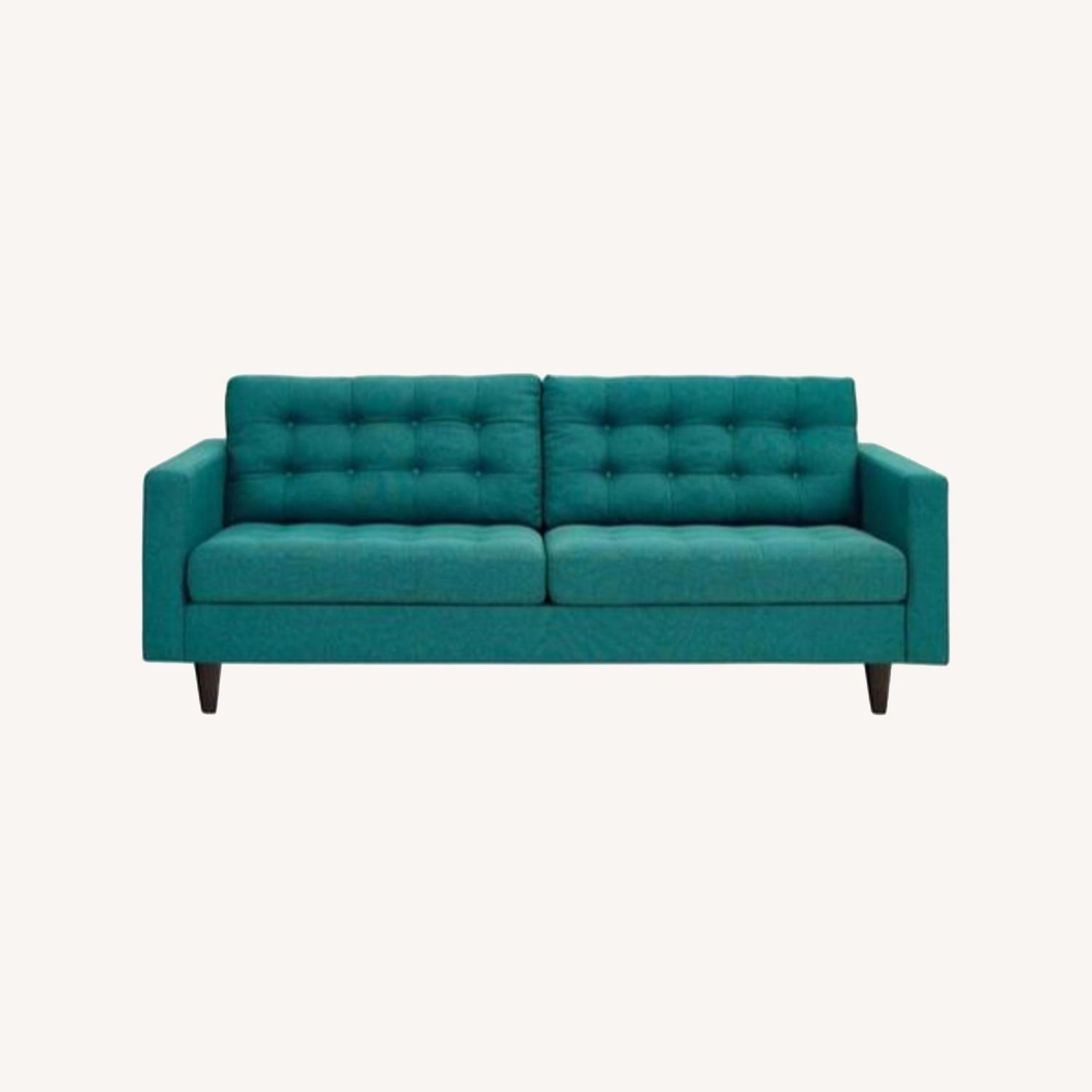 Modern Style Sofa In Teal Fabric W/ Tufted Buttons - image-5