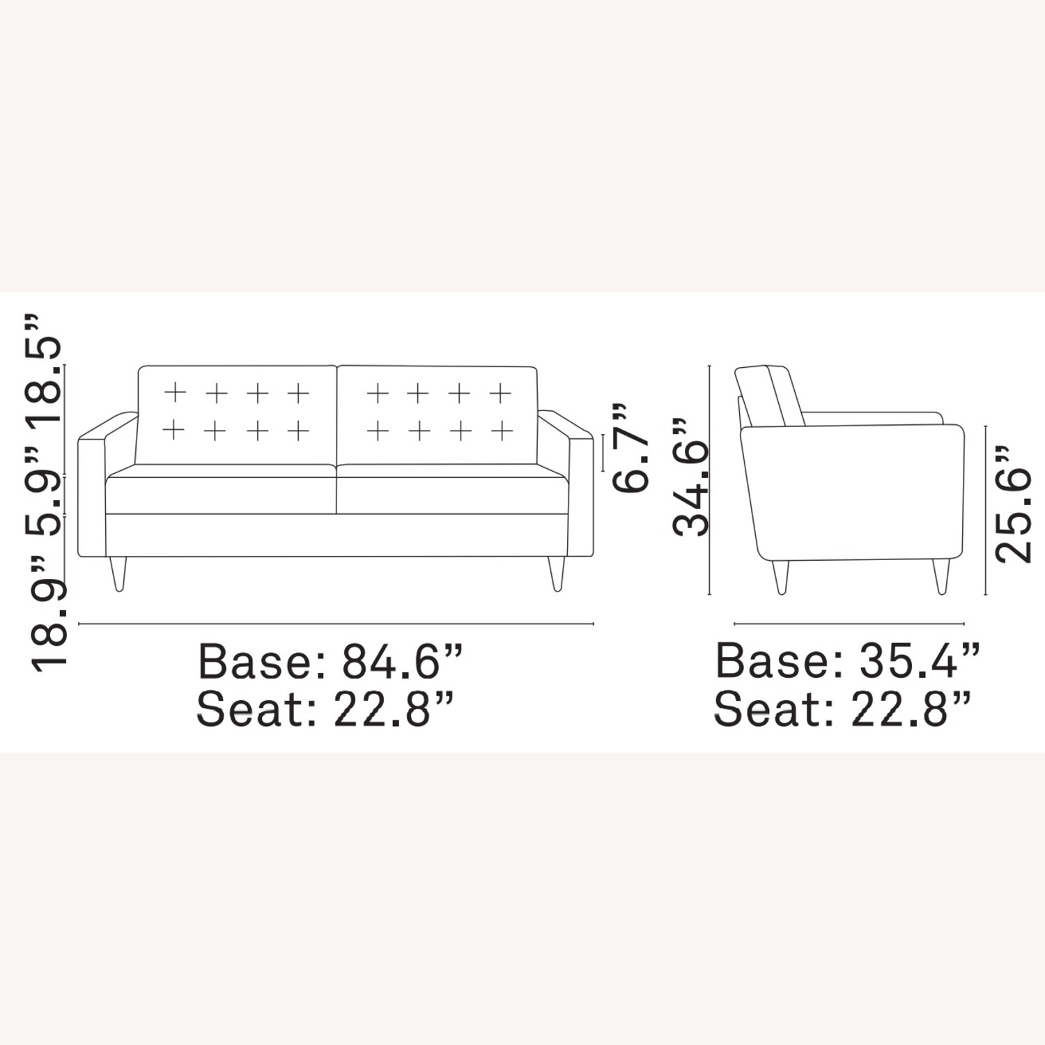 Modern Style Sofa In Teal Fabric W/ Tufted Buttons - image-4