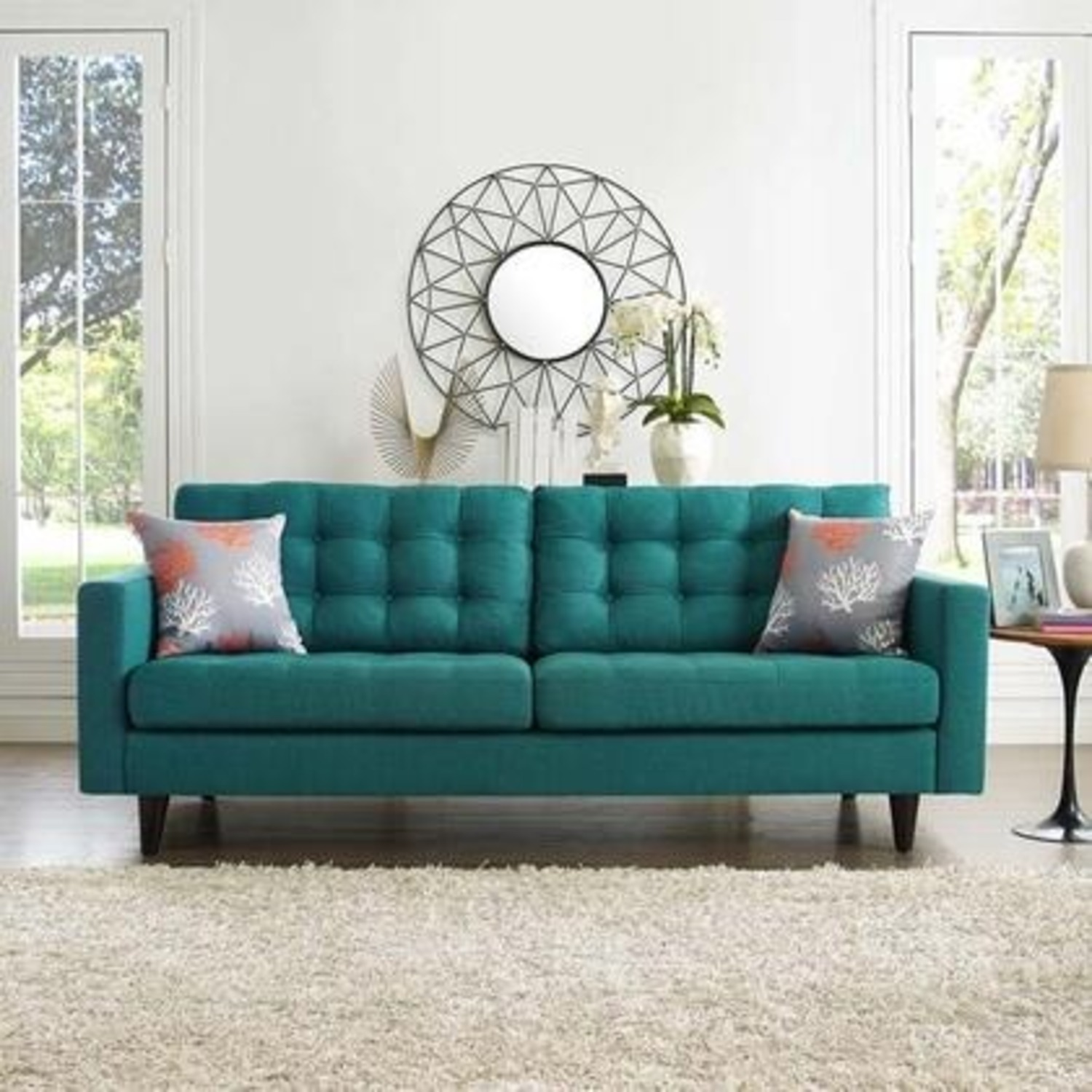 Modern Style Sofa In Teal Fabric W/ Tufted Buttons - image-3