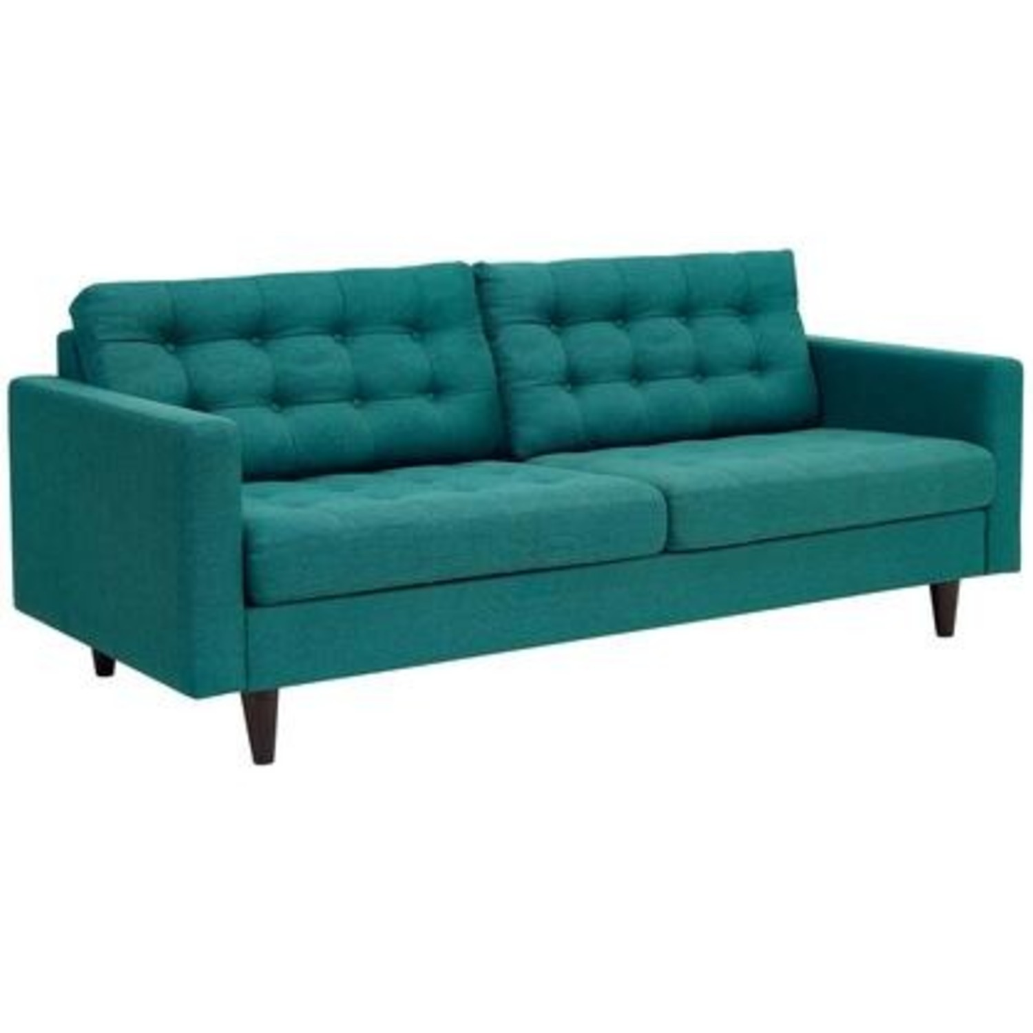 Modern Style Sofa In Teal Fabric W/ Tufted Buttons - image-0