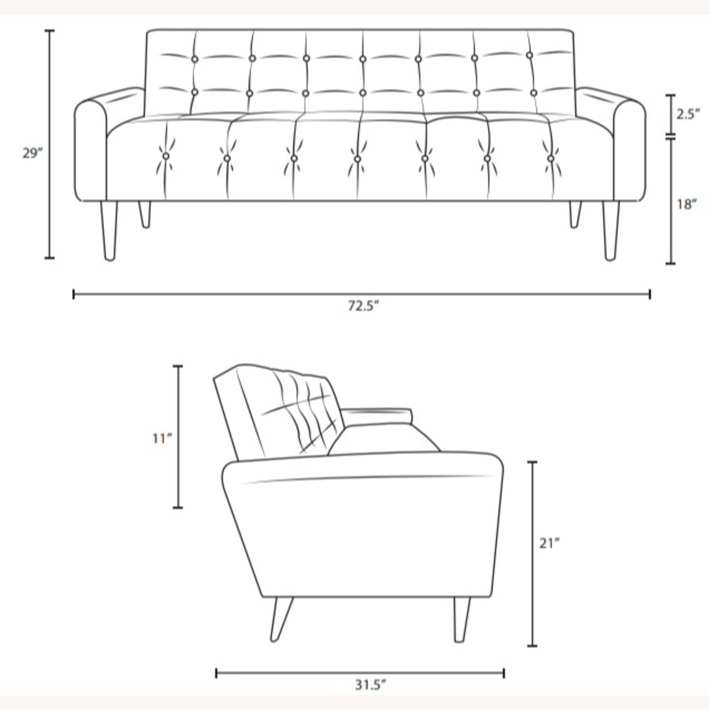 Modern Style Sofa In Blue Vinyl Upholstery - image-4
