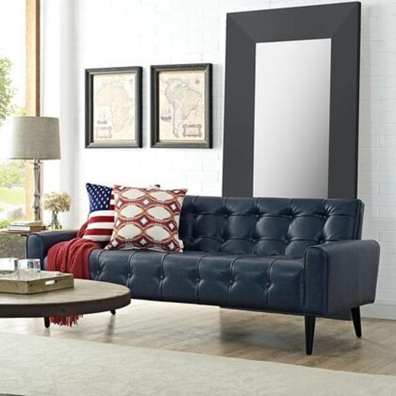 Modern Style Sofa In Blue Vinyl Upholstery - image-3