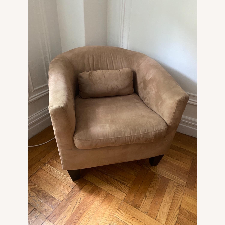 Jennifer Convertibles Tan Barrel Chair - image-1