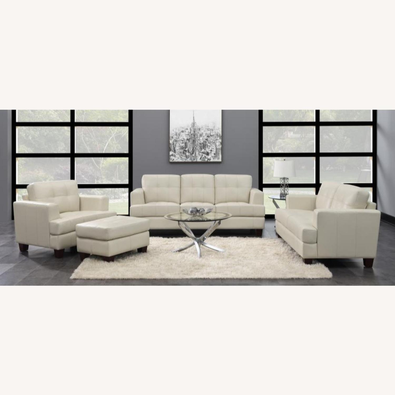 Sofa In Cream Leatherette W/ Top Stitch Details - image-3