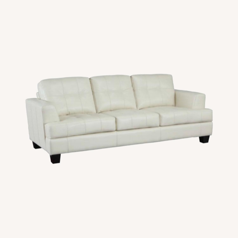 Sofa In Cream Leatherette W/ Top Stitch Details - image-5