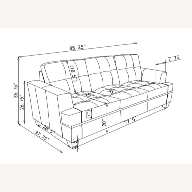Sofa In Cream Leatherette W/ Top Stitch Details - image-4