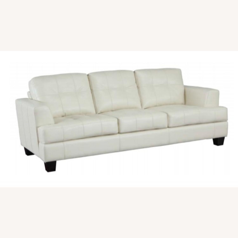 Sofa In Cream Leatherette W/ Top Stitch Details - image-0