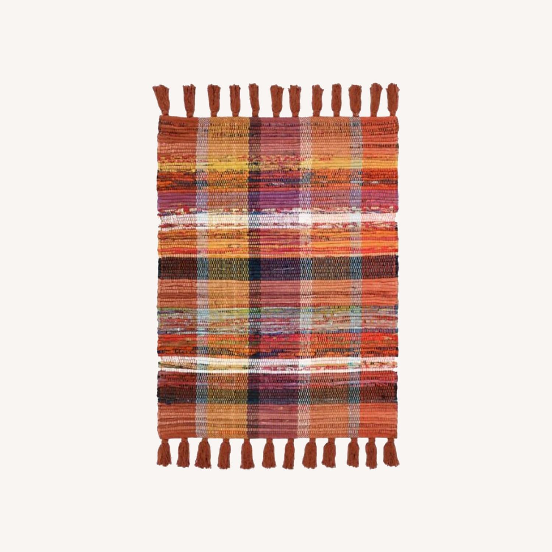 Vintage Plaid Rust Boho Rug - image-0