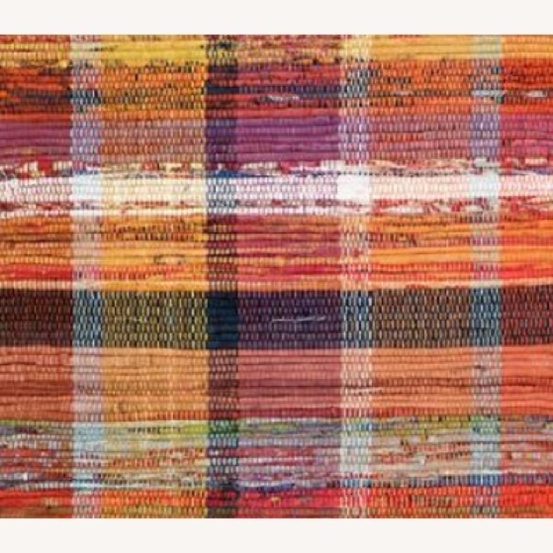 Vintage Plaid Rust Boho Rug - image-3