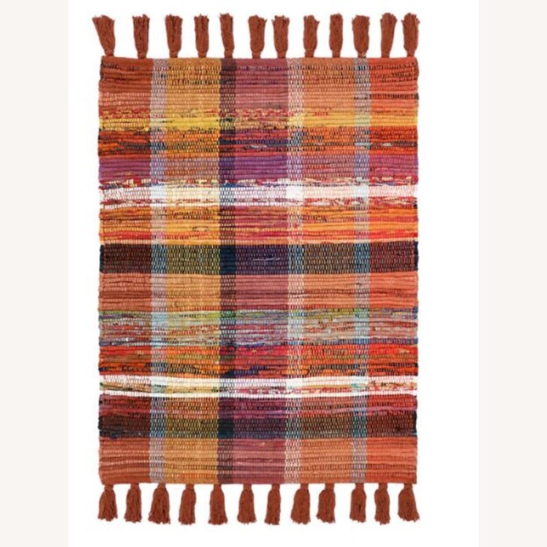 Vintage Plaid Rust Boho Rug - image-1