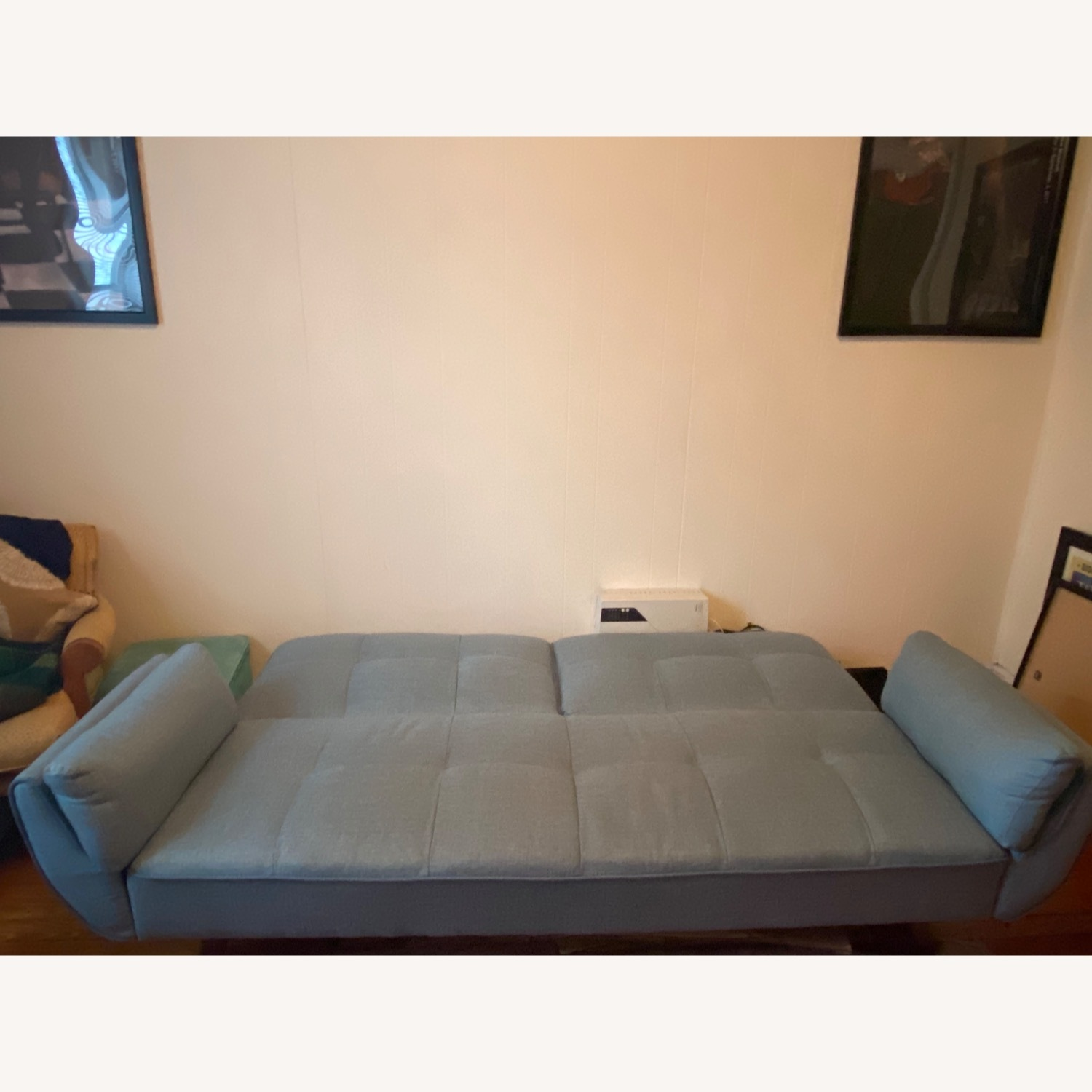 Mid Century Style Sofa Bed in Turquoise Fabric - image-2