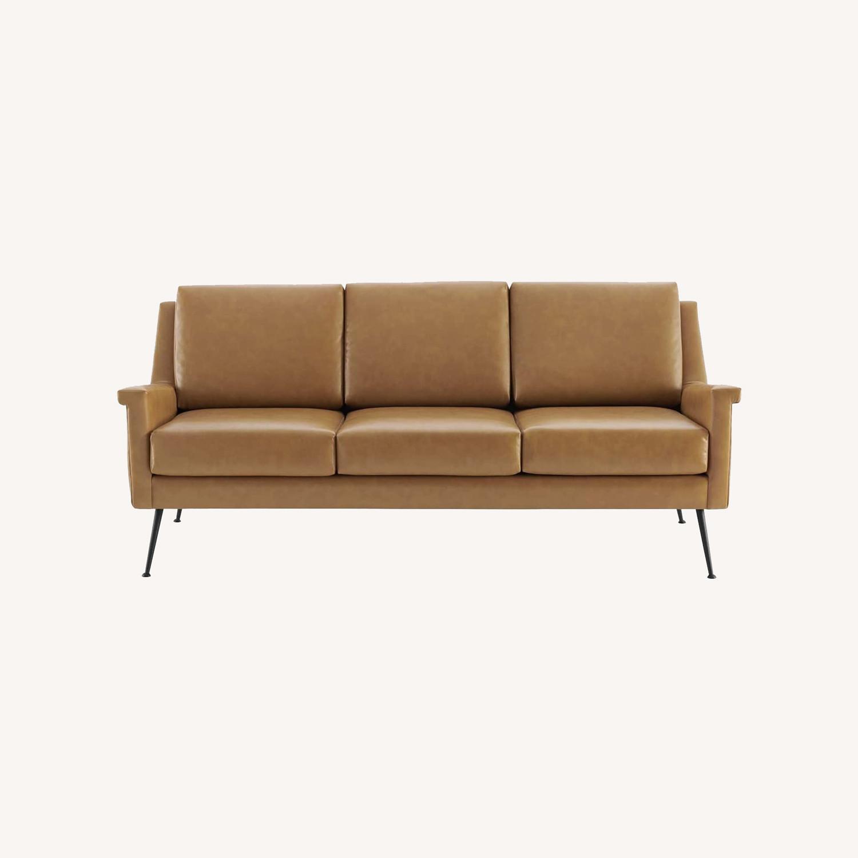 Modern Sofa In Tan Leather W/ Black Metal Legs - image-8