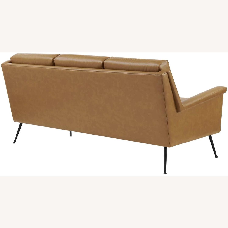 Modern Sofa In Tan Leather W/ Black Metal Legs - image-2