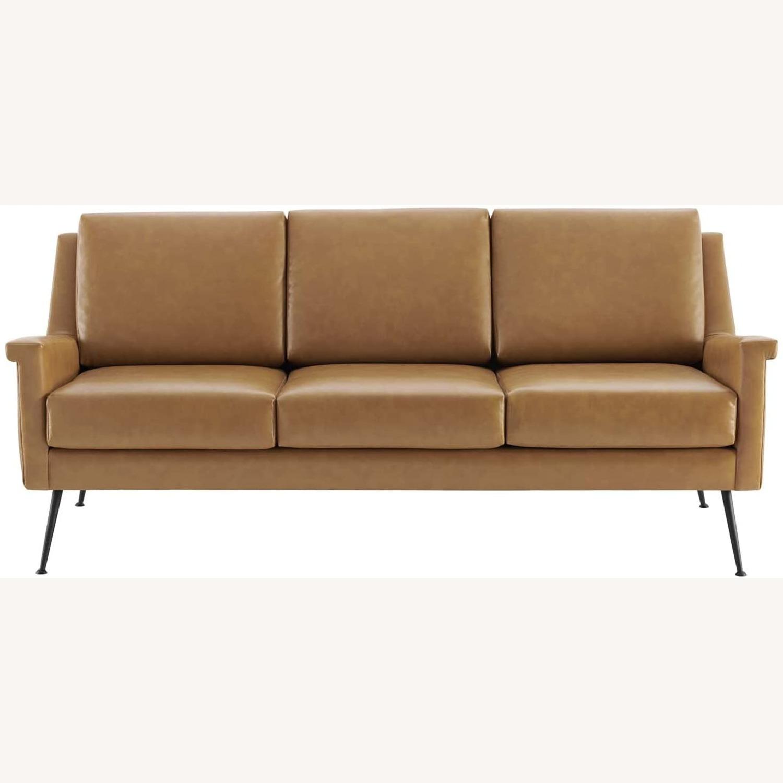 Modern Sofa In Tan Leather W/ Black Metal Legs - image-1