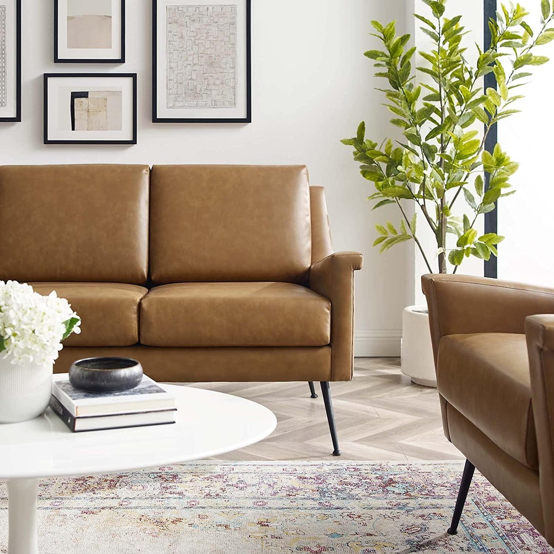 Modern Sofa In Tan Leather W/ Black Metal Legs - image-5