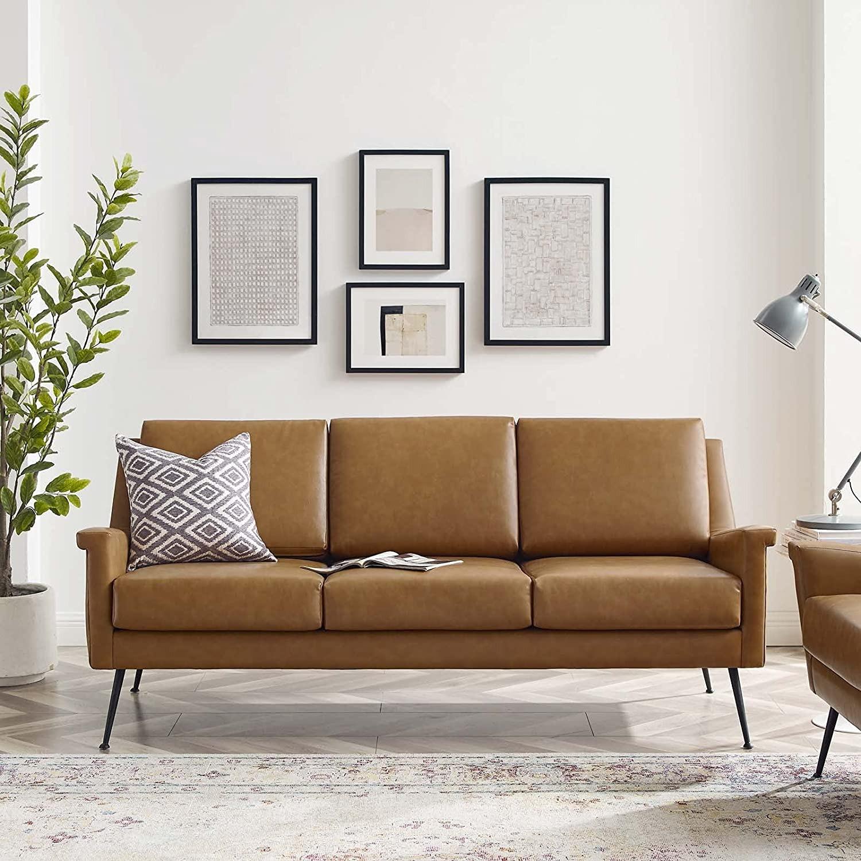 Modern Sofa In Tan Leather W/ Black Metal Legs - image-7