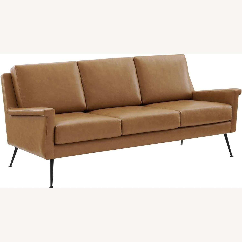 Modern Sofa In Tan Leather W/ Black Metal Legs - image-0