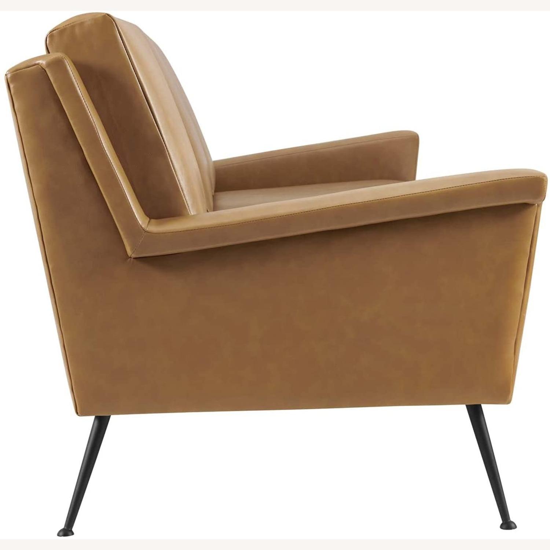 Modern Sofa In Tan Leather W/ Black Metal Legs - image-3