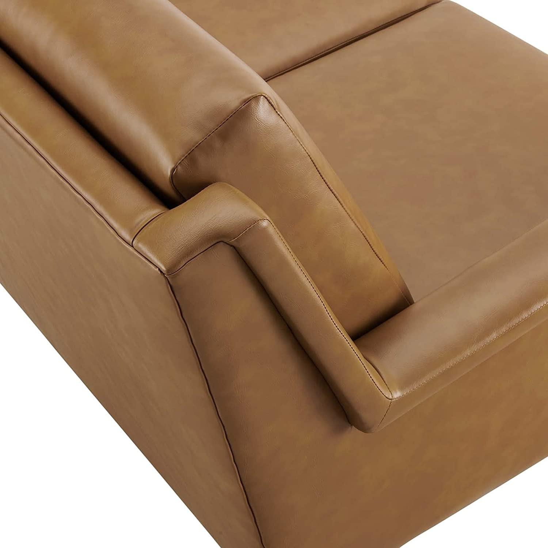 Modern Sofa In Tan Leather W/ Black Metal Legs - image-4