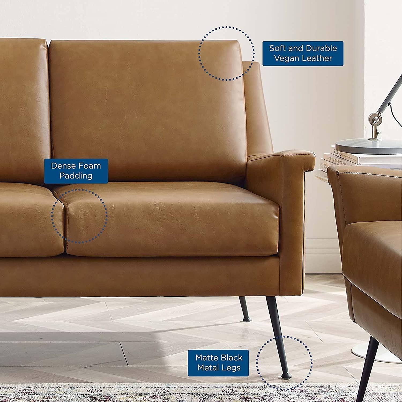 Modern Sofa In Tan Leather W/ Black Metal Legs - image-6