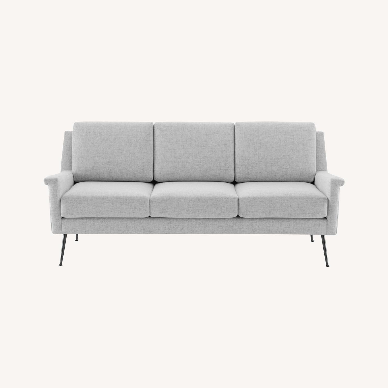 Sofa In Light Gray Fabric W/ Black Metal Legs - image-8