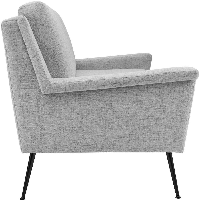 Sofa In Light Gray Fabric W/ Black Metal Legs - image-3