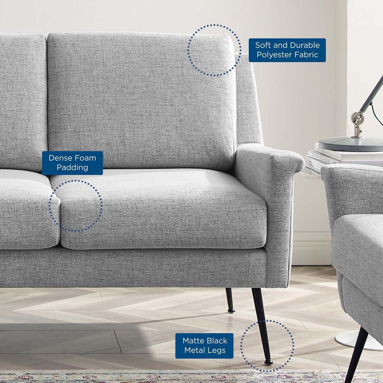 Sofa In Light Gray Fabric W/ Black Metal Legs - image-6