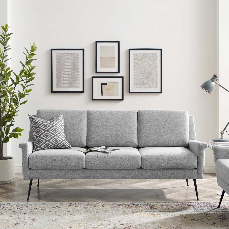 Sofa In Light Gray Fabric W/ Black Metal Legs - image-7