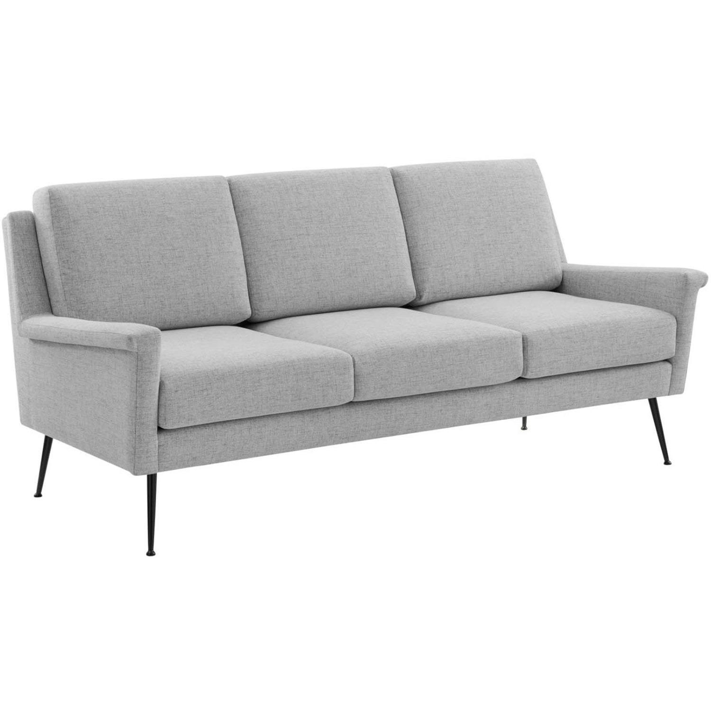 Sofa In Light Gray Fabric W/ Black Metal Legs - image-0