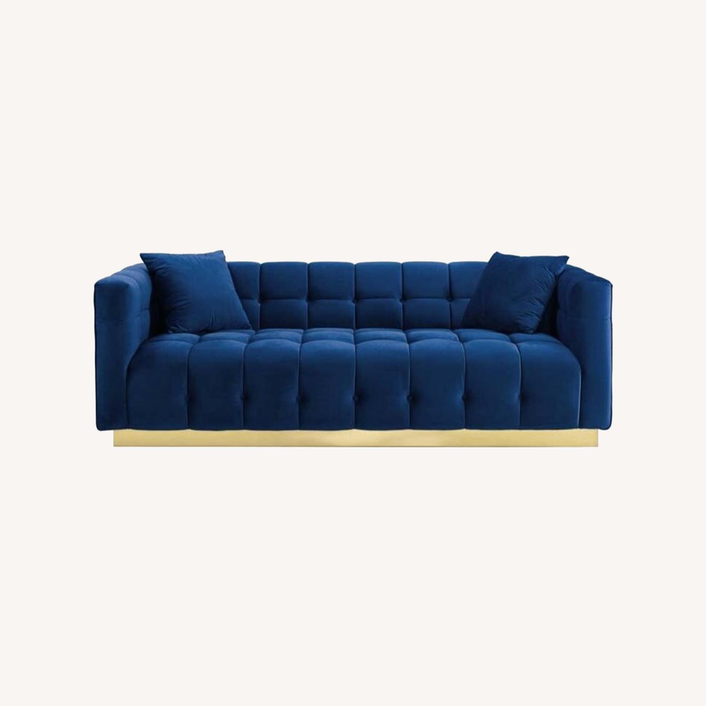 Sofa In Navy Velvet W/ Biscuit Tufting Details - image-7