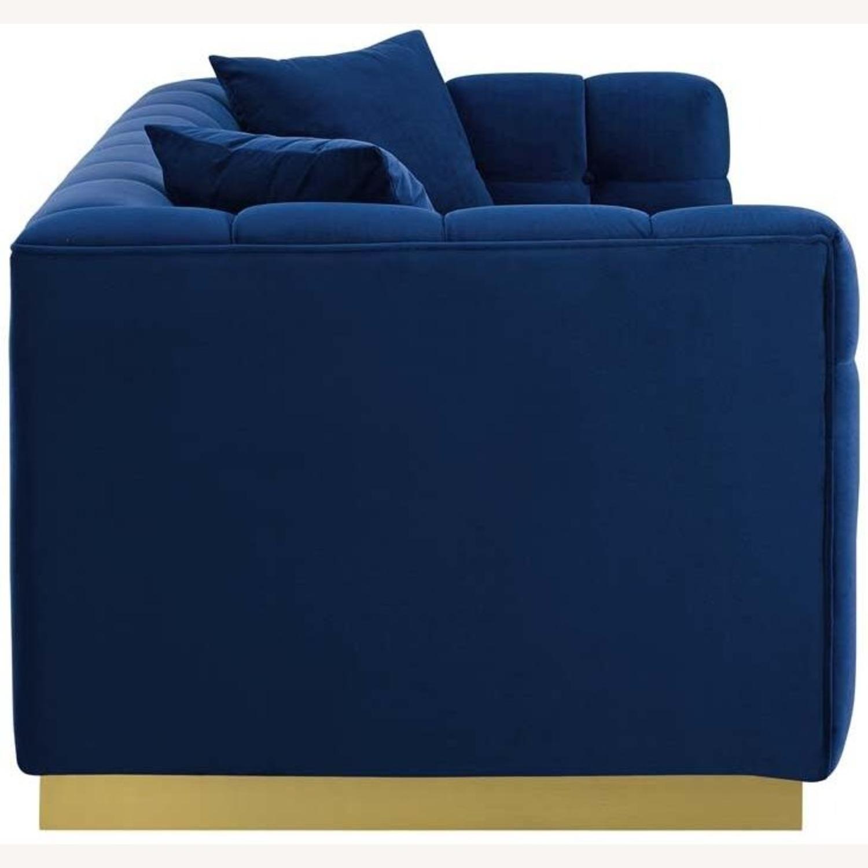 Sofa In Navy Velvet W/ Biscuit Tufting Details - image-3