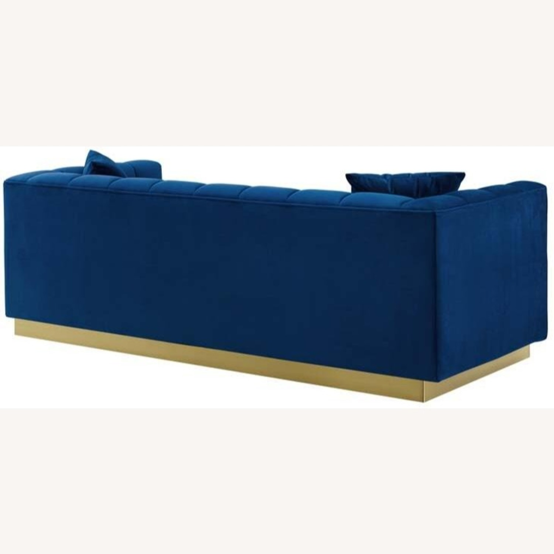 Sofa In Navy Velvet W/ Biscuit Tufting Details - image-2