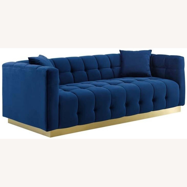 Sofa In Navy Velvet W/ Biscuit Tufting Details - image-0