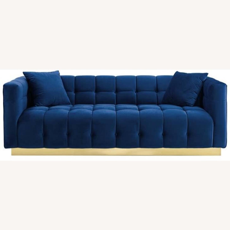 Sofa In Navy Velvet W/ Biscuit Tufting Details - image-1
