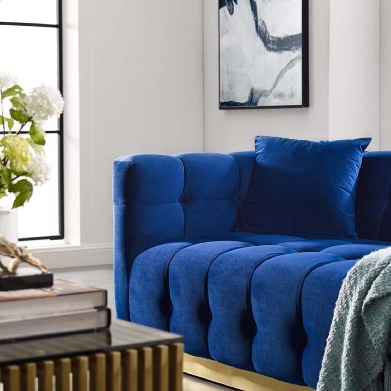 Sofa In Navy Velvet W/ Biscuit Tufting Details - image-4