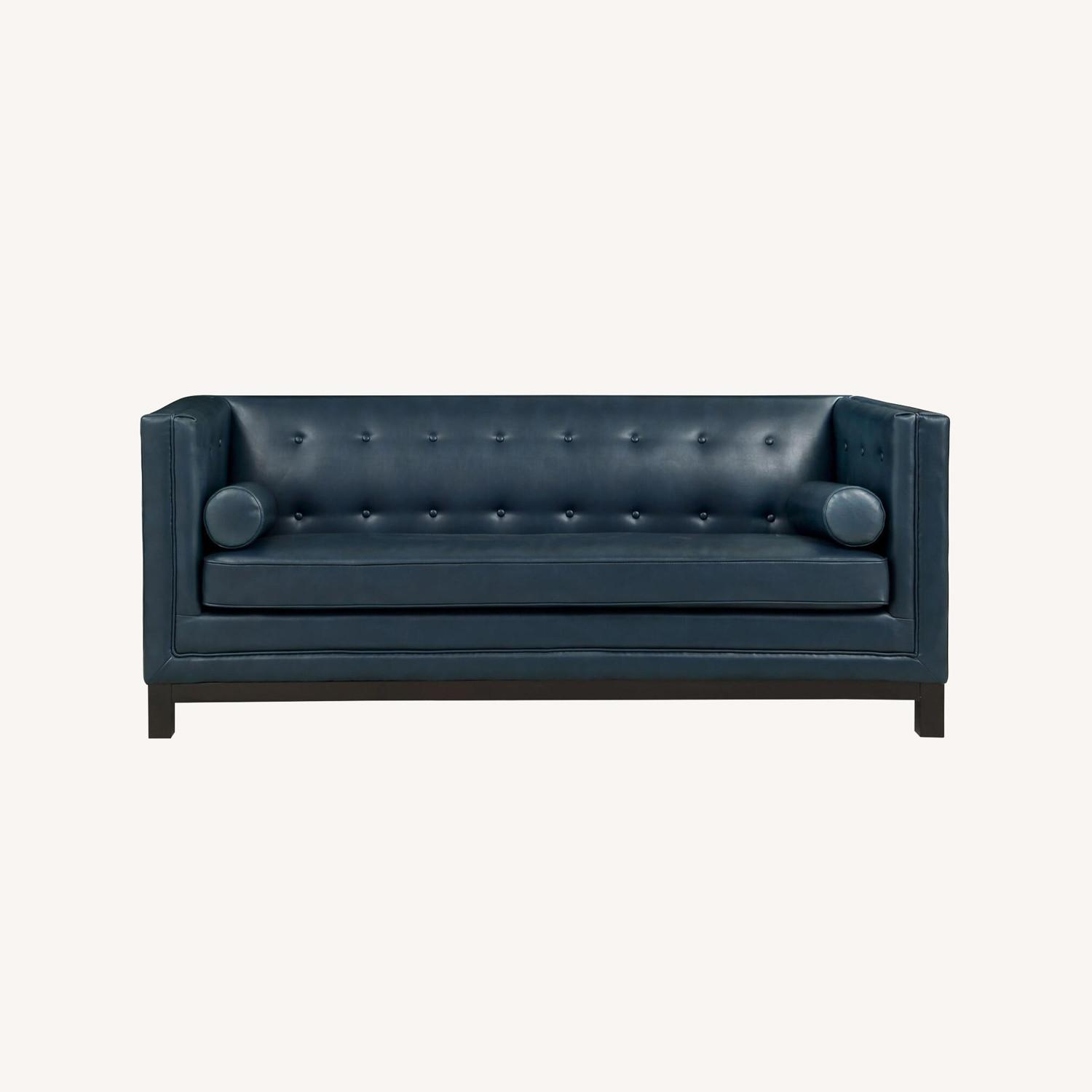 Mid-Century Style Sofa In Blue Bonded Leather - image-5