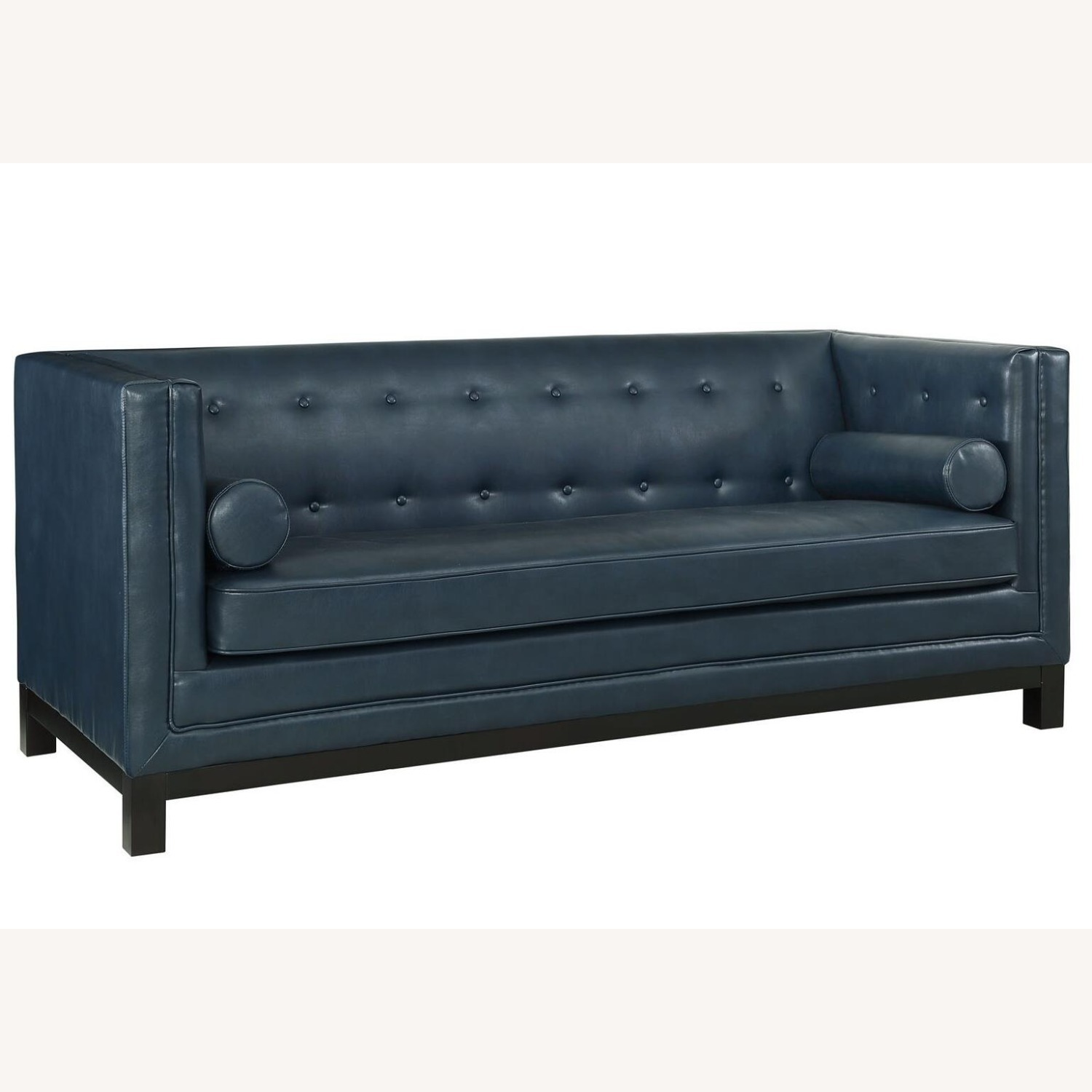 Mid-Century Style Sofa In Blue Bonded Leather - image-0