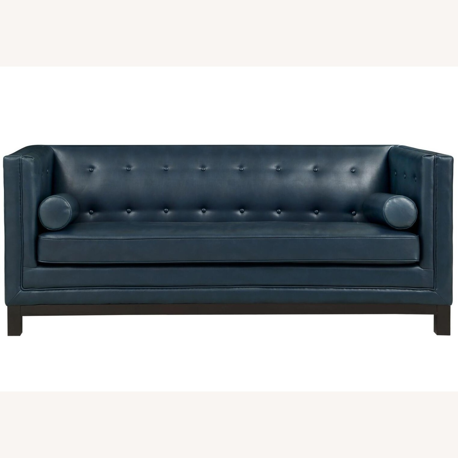 Mid-Century Style Sofa In Blue Bonded Leather - image-1