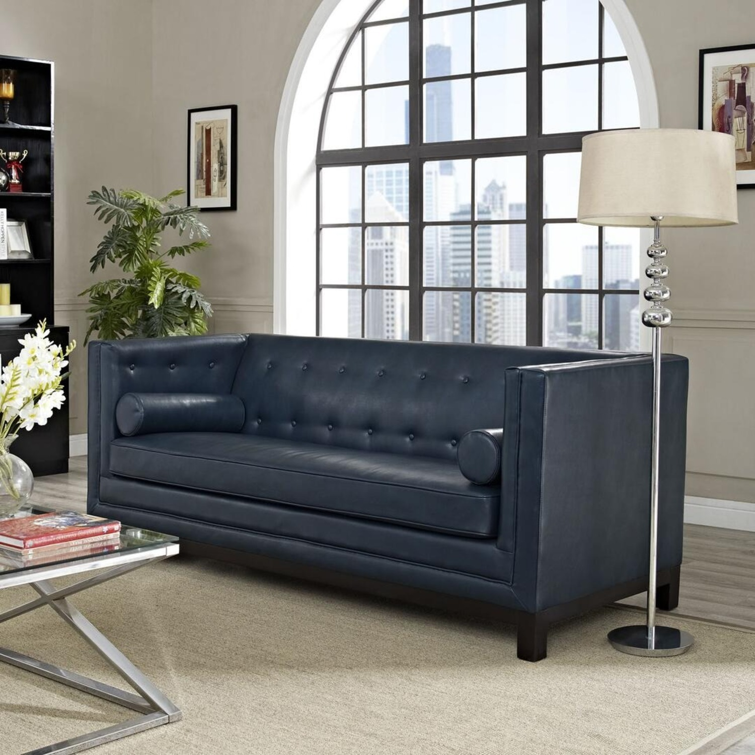 Mid-Century Style Sofa In Blue Bonded Leather - image-3