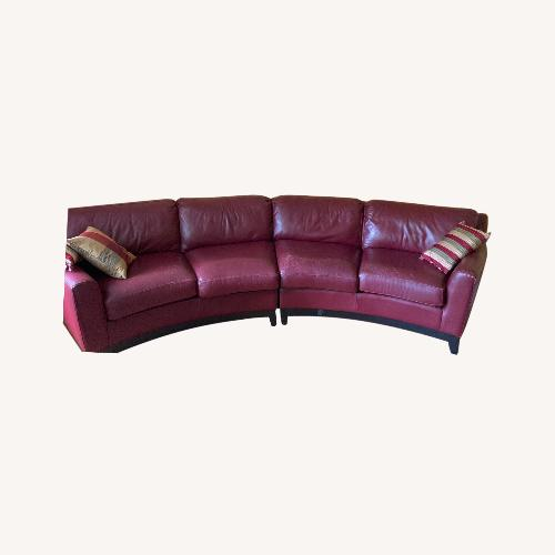 Used Burgundy Genuine Leather Couch for sale on AptDeco